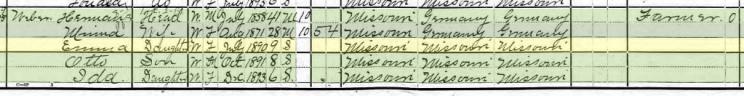 Emma Weber 1900 census Brazeau Township MO