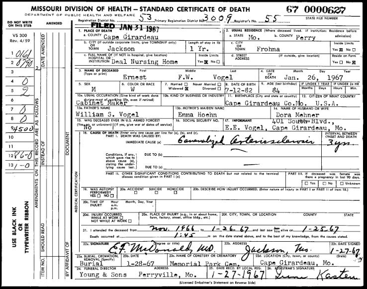 Ernest Vogel death certificate