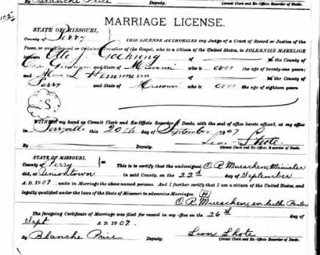 Goehring Hemmann marriage license