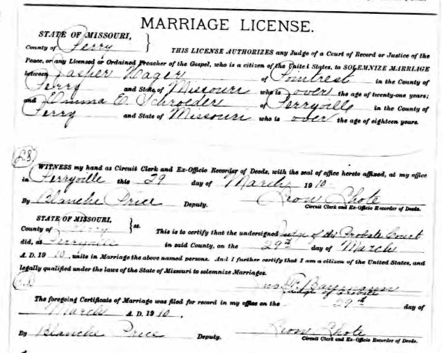Hager Schroeder marriage license