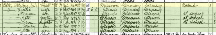 Henry A Pilz 1900 census Murphysboro IL