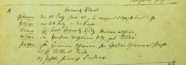 Henry A Pilz baptism record Immanuel Altenburg MO