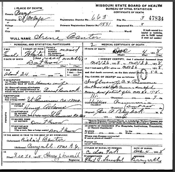 Irene Canter death certificate