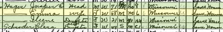 Jasper Hager 1940 census Bois Brule Township MO