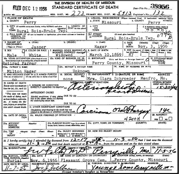 Jasper Hager death certificate