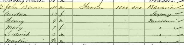 John Birner 1860 census Brazeau Township MO