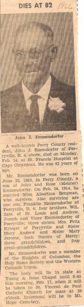 John Emmendorfer obituary