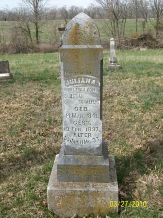 Juliana Schaefer gravestone Grace Uniontown MO