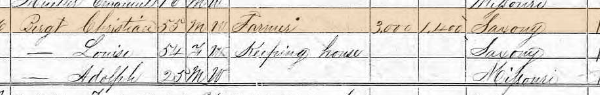 Julius Bergt 1870 census 1 Brazeau Township MO
