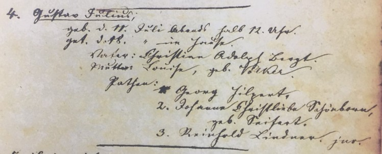 Julius Bergt baptism record Concordia Frohna MO
