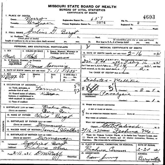 Julius Bergt death certificate