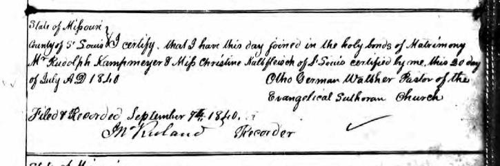 Kampmeyer Kalbfleisch marriage record St. Louis MO