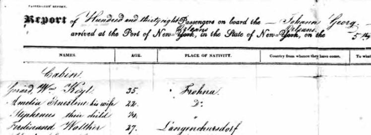 Keyl names Johann Georg passenger list 1839
