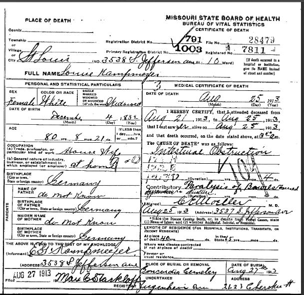 Louise Kampmeyer death certificate