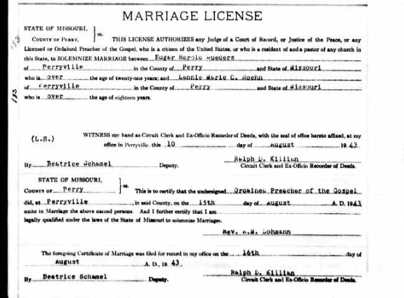 Lueders Hoehn Canter marriage license