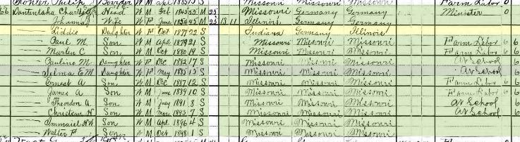 Lydia Dautenhahn 1900 census Rock Township Jefferson County MO