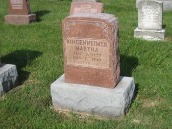 Martha Bingenheimer gravestone Grace Uniontown MO