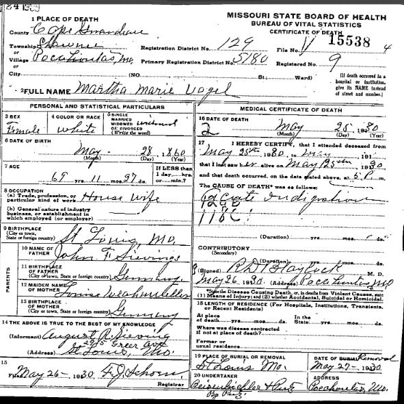 Martha Marie Vogel death certificate