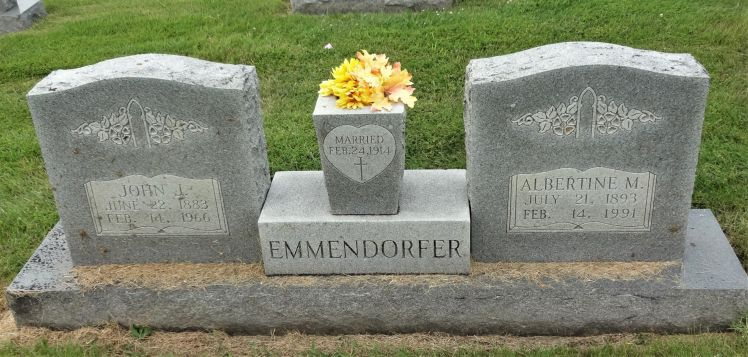 ohn and Albertina Emmendorfer gravestone Mt. Hope Perryville MO