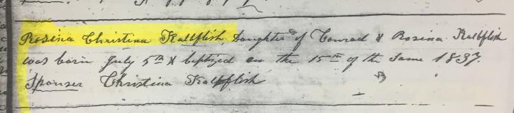 Rosina Kalbfleisch baptism record German church New York City 1837