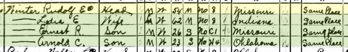 Rudolph Winter 1940 census Afton OK