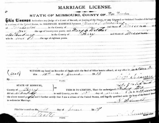Ruehling Walther marriage license