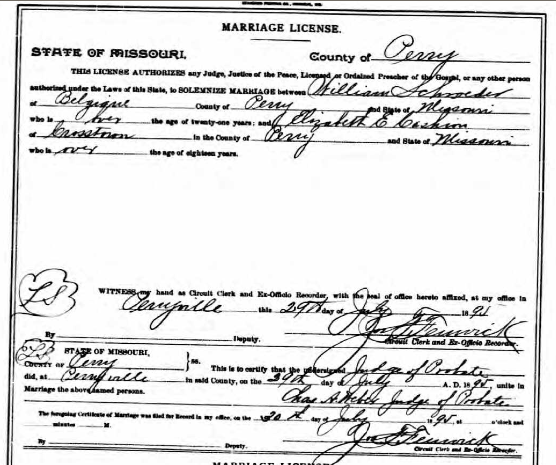 Schroeder Cashion marriage license