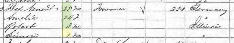 Simon Nennert 1860 census Jackson County IL