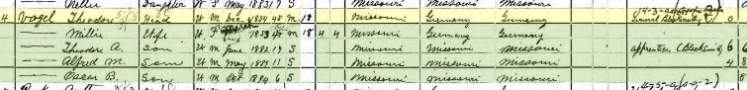 Theodore Vogel 1900 census Shawnee Township MO