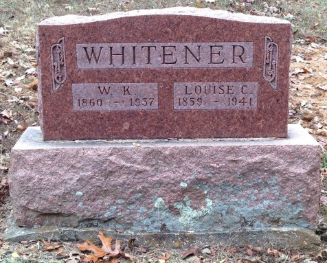 W.K. and Louisa Whitener gravestone - Cox, Bollinger County MO