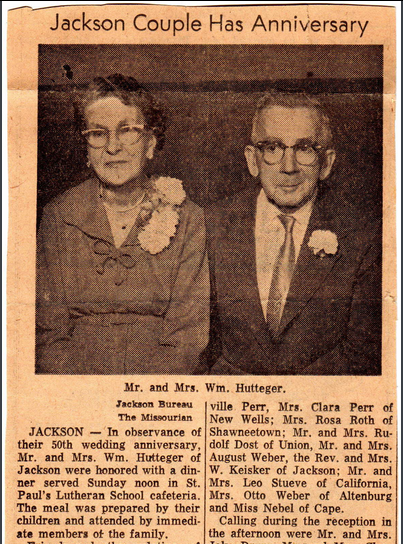 William and Emma Hutteger 50th anniversary article 1