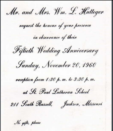 William and Emma Hutteger 50th anniversary invitation
