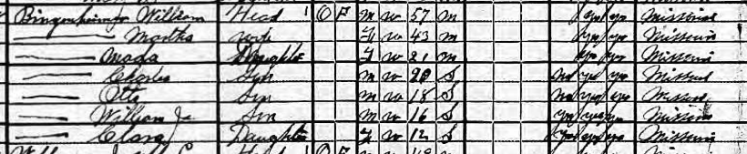 William Bingenheimer 1920 census Apple Creek Township MO