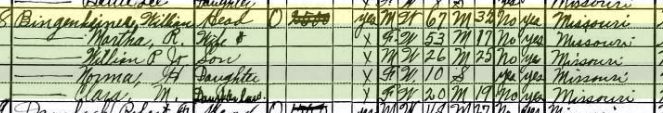 William Bingenheimer 1930 census Apple Creek Township MO