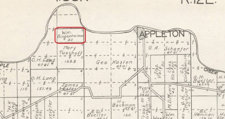 William Bingenheimer land map 1915