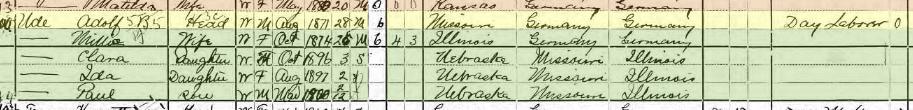 Adolf Ude 1900 census Lincoln Township Jefferson County NE