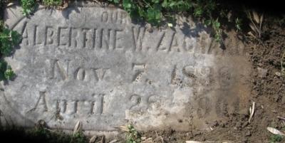 Albertine Zacharias gravestone Oakwood Richmond VA