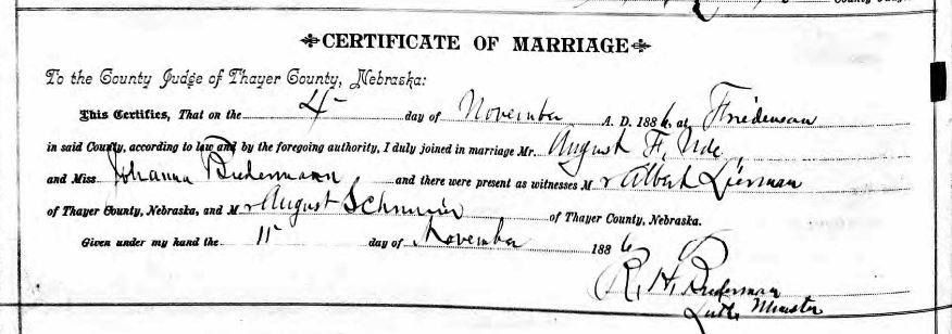 August Ude Biedermann Nebraska marriage record 1886
