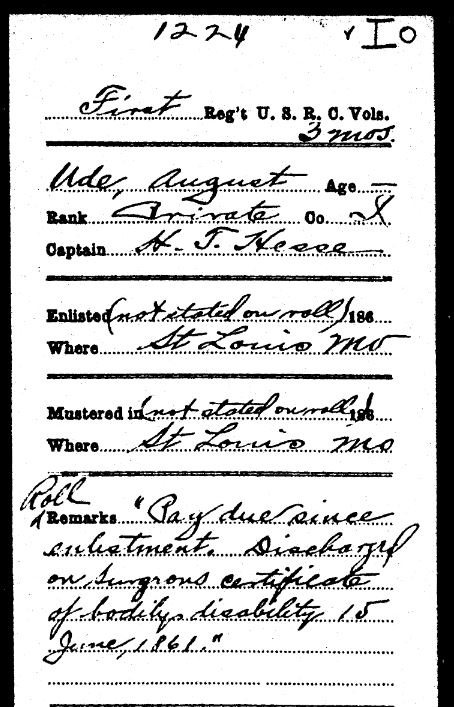 August Ude Civil War military record St. Louis