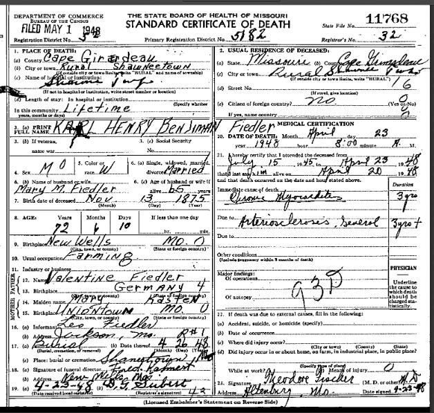 Benjamin Fiedler death certificate