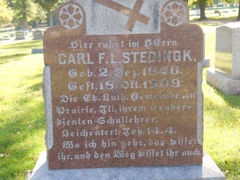 Carl Stedingk gravestone St. Trinity St. Louis MO