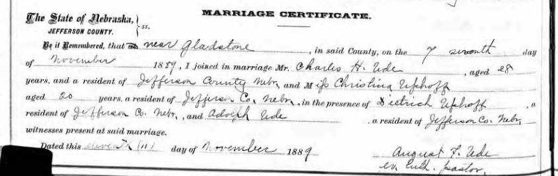 Charles Ude Uphoff Nebraska marriage record 1889