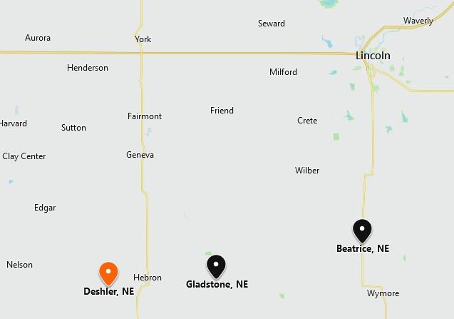 Deshler Gladstone Beatrice Nebraska map