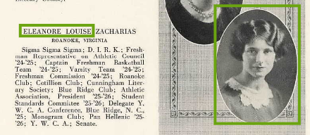 Eleanore Zacharias State Teachers College Farmville VA 1926