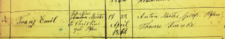 Emil Meister baptism record Grace Uniontown MO