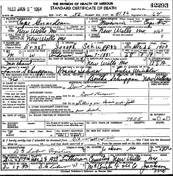 Ernst Schuppan death certificate