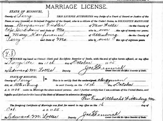 Fiedler Kaufmann marriage license
