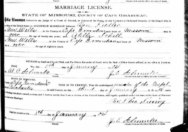 Fiedler Scholl marriage license