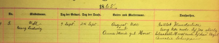 George Ludwig Ude baptism record Immanuel New Wells MO