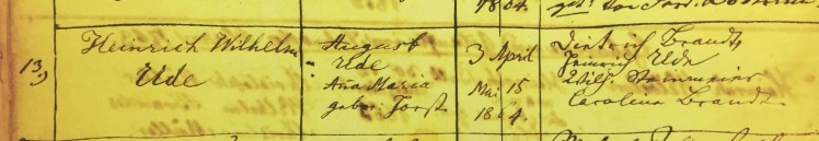 Heinrich Wilhelm Ude baptism record - Grace Uniontown MO